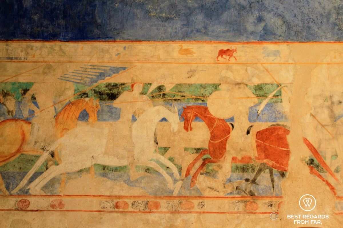 Mural displaying the fights between the Franks and the Arabs, cité de Carcassonne, France
