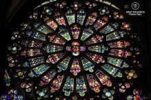 The colourful glass-stained windows of the Saint Nazaire cathedral, Carcassonne, France