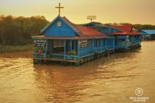 Floating Catholic church in Chong Kneas floating village, Tonlé Sap, Cambodia