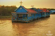 Floating Catholic church in Chong Kneas floating village, Tonlé Sap, Cambodia