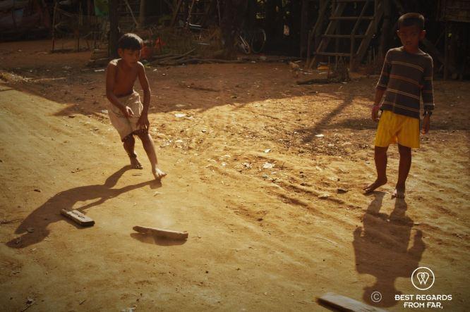 Boys playing, Kampong Phluk floating village, Tonlé Sap, Cambodia