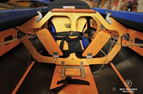 The pedals to control the rudder of the Eckhart's Long Haul kayak, New York City