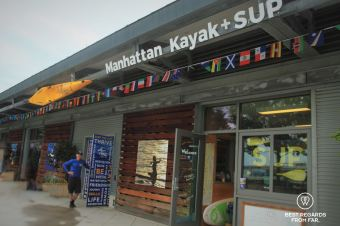 The legendary Eric Stiller in front of the Manhattan Kayak Company, New York City