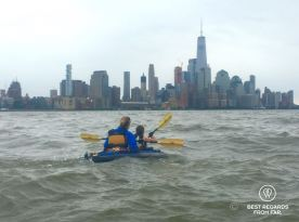 Kayaking to the Statue of Liberty with Manhattan in the background, New York City