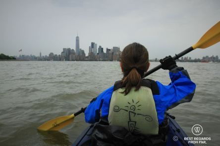 Kayaking back from the Statue of Liberty and enjoying the Manhattan skyline, New York City