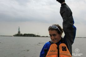 Kayaking to the Statue of Liberty, New York City: we made it!