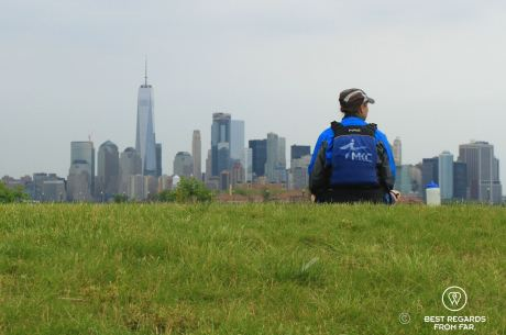 Lunch break overlooking the Manhattan skyline, kayaking to the Statue of Liberty in New York City