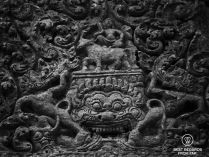 Detailed stone carvings at Preah Vihear, Cambodia