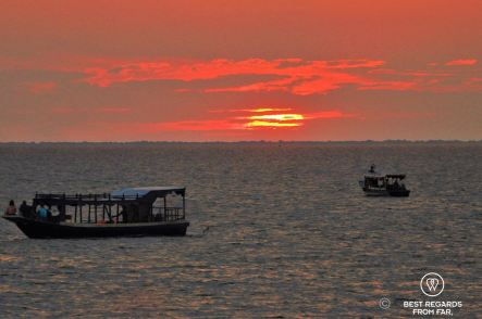 Sunset on the Tonlé Sap Lake from the Queen Tara, Cambodia