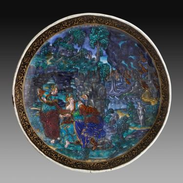 Master IC  (active 1550–1585), Cup: Lot and His Daughters, late 16th century, Painted enamel on copper, partly gilded, H.: 4 3/8 in. (11.1 cm), diam.: 9 7/8 in. (25.1 cm), The Frick Collection, New York - Photo: Michael Bodycomb