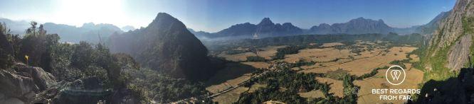Panorama of the surroundings of Vang Vieng, Laos