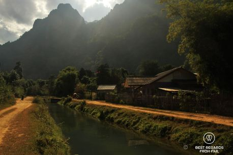 Mountain biking to the caves of Vang Vieng, Laos