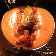 South seas salad on gazpacho, Balius Bar, Poble Nou, Barcelona