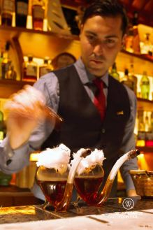 Final touch to the Solera Presidente, El Paradiso speakeasy bar, El Born, Barcelona