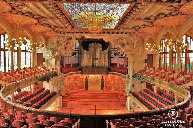 The concert hall of the Palau de la Musica Catalana, Barcelona