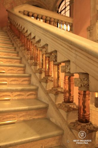 The marble and glass staircase of the Palau de la Musica Catalana, Barcelona