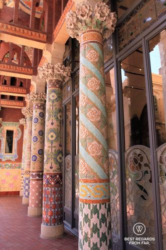 The ornamental balcony of the Palau de la Musica Catalana, Barcelona