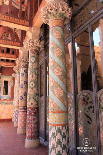 The ornamental balcony of the Palau de la Musica Catalana, Barcelona