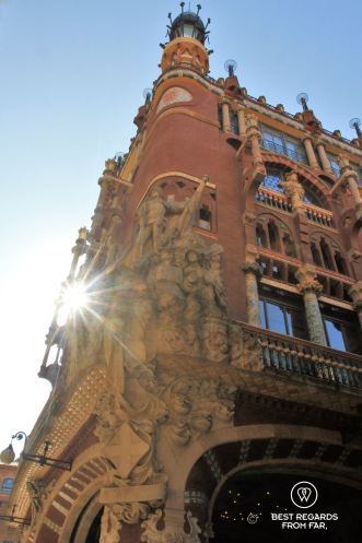 The façade of the Palau de la Musica Catalana, Barcelona