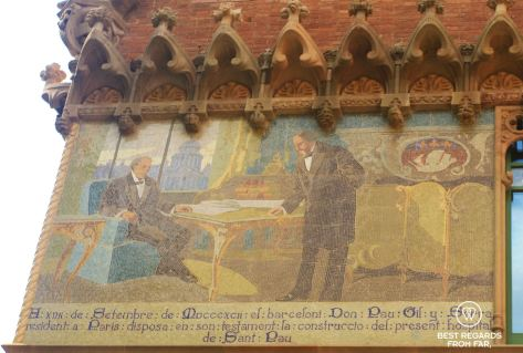Pau Gil in Paris funding the construction of the Sant Pau hospital, Barcelona
