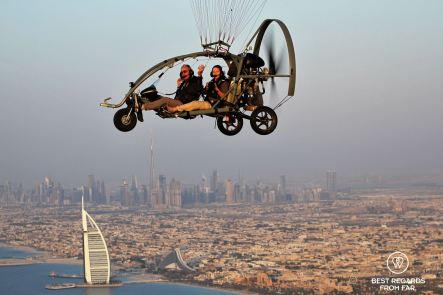 Paramotoring over Dubai with Burj-Al-Arab and Burj-Khalifa, UAE