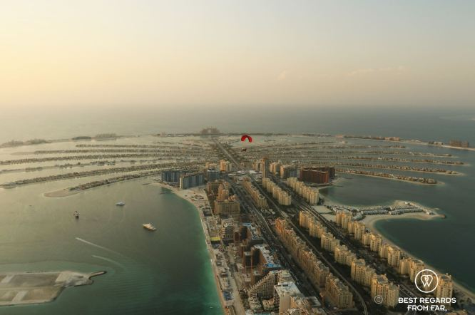 Paramotoring over the Palm, Dubai, UAE