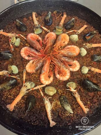 Delicious seafood paella at Born to cook cooking school, Barcelona