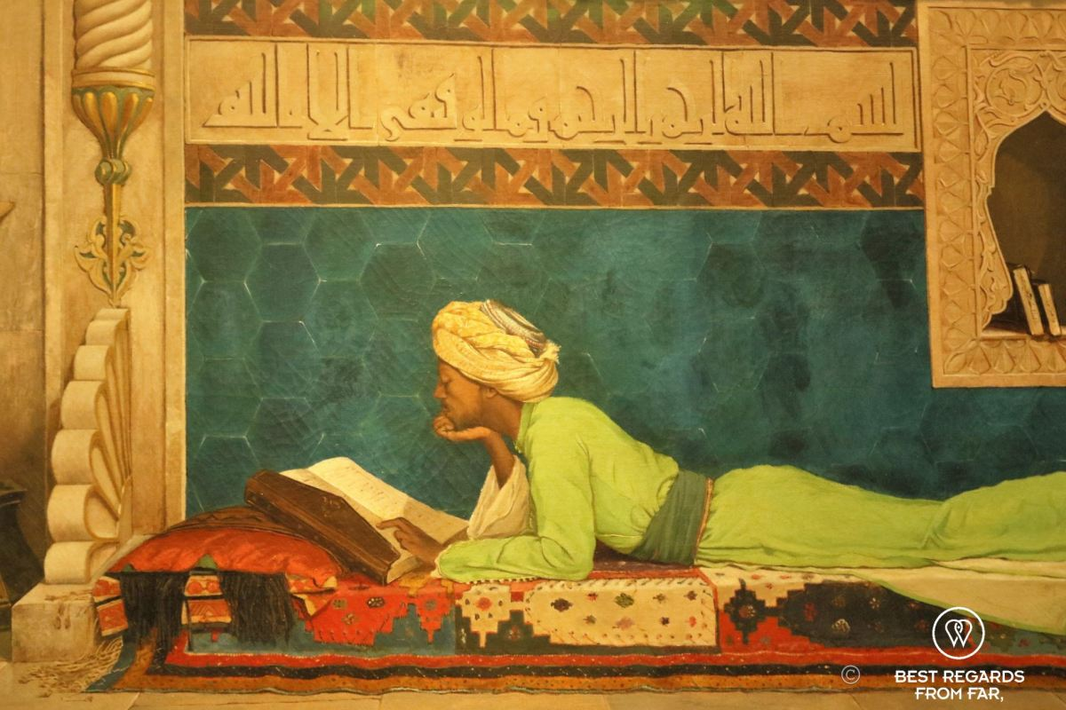Painting of a young emir studying by Osman Hamdy Bey, Turkey, 1878, Louvre Abu Dhabi, UAE