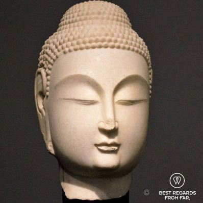 Buddha head, Northern China, 530-580, Louvre Abu Dhabi, UAE
