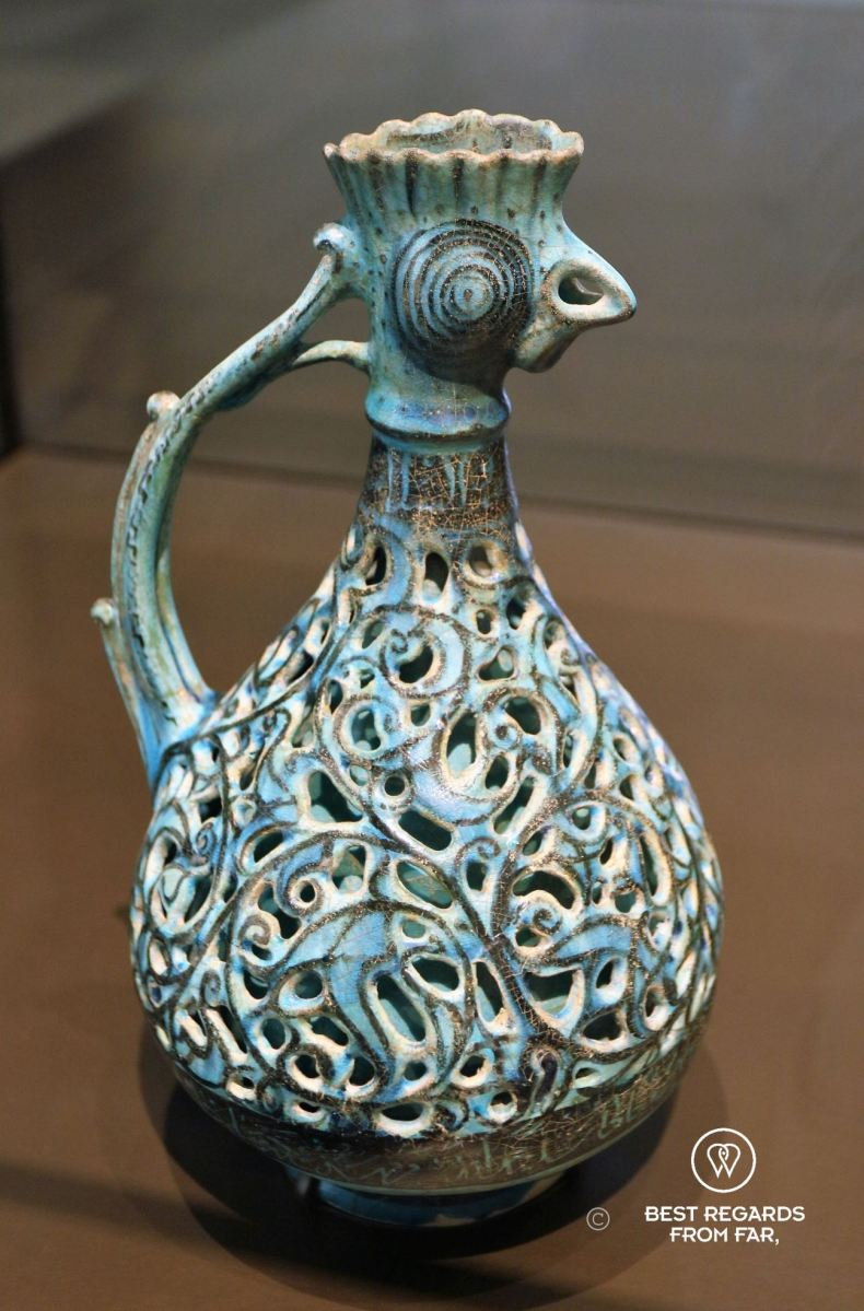 Blue Ewer with a rooster head, Iran, 1100-1300, Louvre Abu Dhabi, UAE.