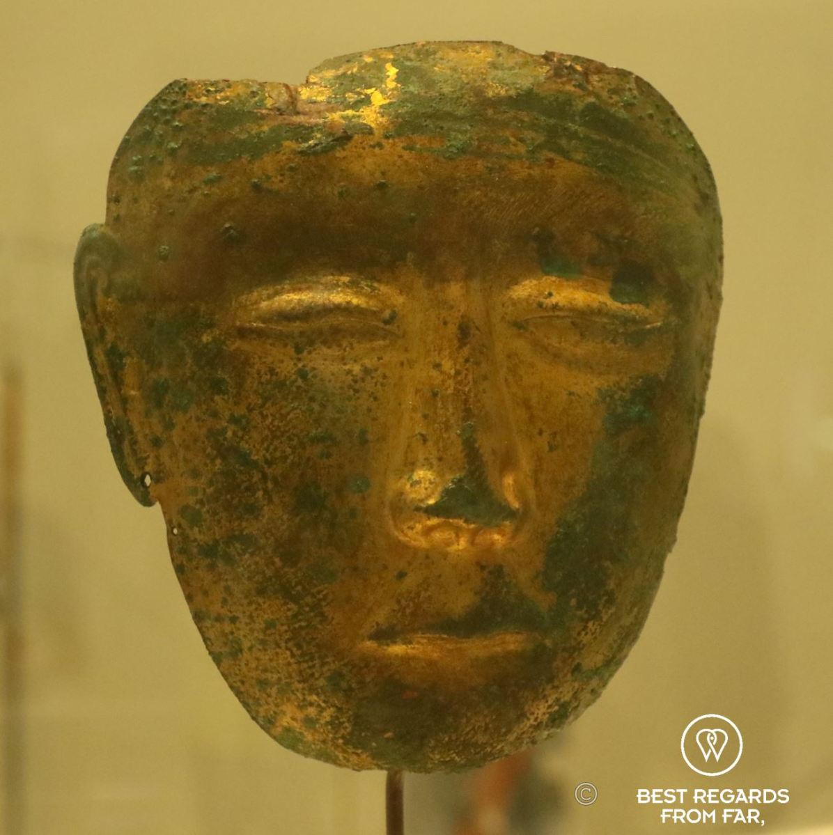 Gilded funerary mask, Northern China, 907-1125, Louvre Abu Dhabi, UAE.
