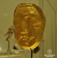 Gold funerary mask, Middle East, 600-300 BCE, Louvre Abu Dhabi, UAE