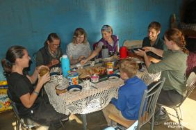 Sharing breakfast in the village of Libibing while pony trekking Lesotho.