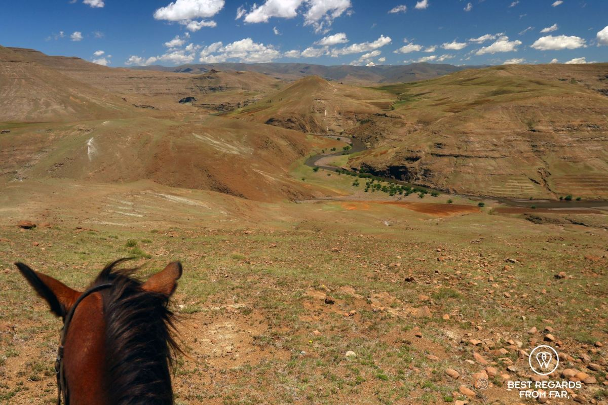 Photo taken from the horseback with the head of the horse as the foreground, and the mountains of Lesotho and the Orange River in the background.