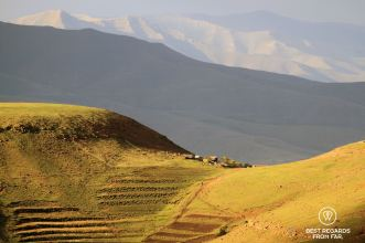 A remote village in Lesotho at the col of a mountain.