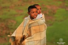 Portrait of two Basotho children in the traditional blanket, Lesotho.
