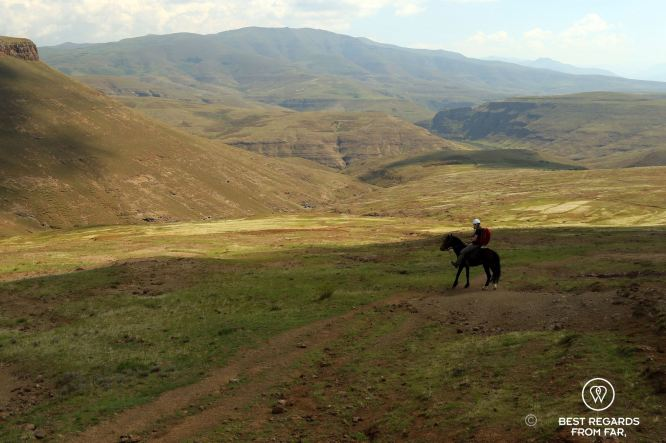 Horseback rider in the mountains of Lesotho