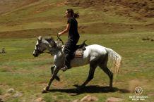 Claire riding, pony trek, Lesotho