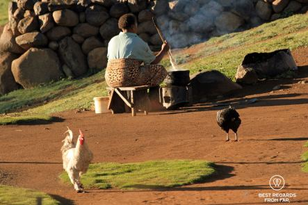 Woman cooking pap in the morning, pony trek, Lesotho