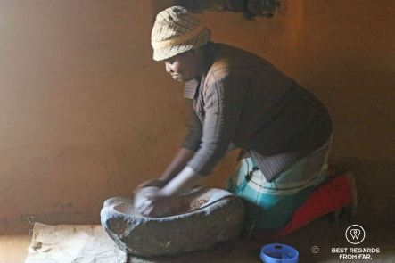 Grinding to make beer in Malubelube, Lesotho