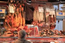 Spanish hams and cold cuts at the Santa Caterina market, Barcelona
