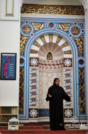 Explaining the basics of Islam at the Al Bastakiya mosque Al Fahidi district, Dubai, UAE