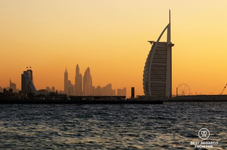 Burj Al Arab dominating the modern skyline of Dubai, UAE