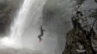 Claire jumping into into the Mac Mac falls in Sabie by the Blyde River Canyon, South Africa