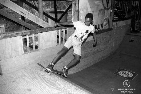 Liyema getting the hang of skateboarding at Shaka Surf School, Port Alfred, South Africa