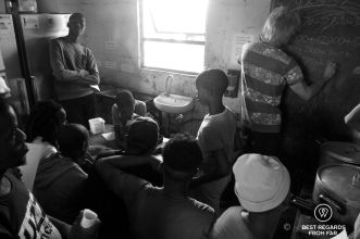 Overcrowded after-school maths class at Nemato, Change a Life, Port Alfred, South Africa
