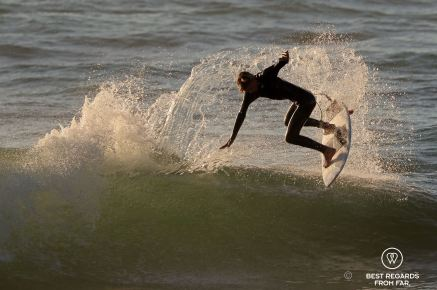 National champion Kye on his new Fishtix surfboard, Port Alfred, South Africa