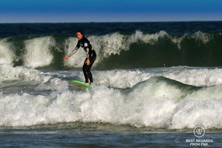 Claire riding a wave on day two, surfing, Port Alfred, South Africa