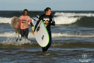 Surfing with champion David Macgregor from Shaka Surf School, Port Alfred, South Africa