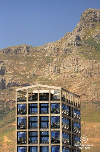 The Zeitz MOCAA with devil's peak in the background, Cape Town, South Africa